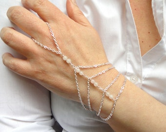 Silver rose quartz slave bracelet, Slave bracelet ring, Rose quartz hand bracelet, Gemstone slave bracelet, Slave bracelet UK, Hand jewelry