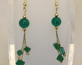 Green nugget dangle earrings