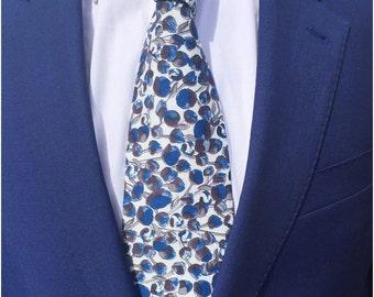 The Eliza Tie in Liberty Print / Wedding Tie / Groomsman Tie / Mens Cotton Tie / Blue Floral Tie / Liberty Print Tie
