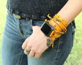 Yellow Apple Wrap Watch, Yellow Apple Band, Leather Band for 38mm Apple Watch or 42mm Apple Watch