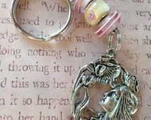 Spring Equinox Goddess Keychain - Silver Plated Charm, Sterling Silver Core Murano Glass Beads, Stainless Steel Keychain