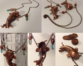 Copper Koi Fish Electroformed Origami and Quartz Necklace, Steampunk Koi and Quartz Necklace