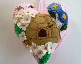 Beehive Felt Heart, Beehive Ornament, Honey Bee, Flower Ornament, Floral Ornament, Spring or Summer Decor, Doorknob Pillow Hanger, Bee Skep