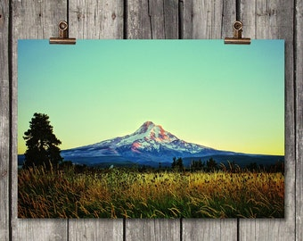 Mt. Hood - Scenic Landscape of Mountain Sunset - Hood River, OR - Fine Art Photography Print