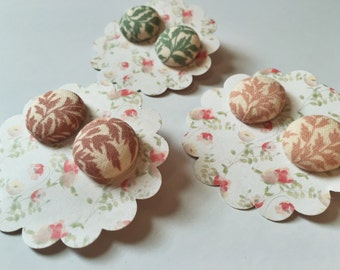 Floral Fabric Covered Button Earrings