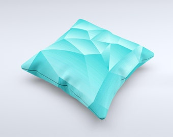 The Blue Geometric Pattern ink-Fuzed Decorative Throw Pillow