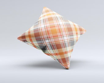 The Gray & Bright Orange Plaid Layered Pattern V5 ink-Fuzed Decorative Throw Pillow