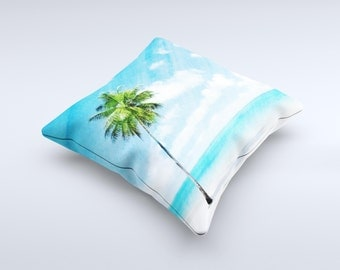 The Paradise Beach Palm Tree ink-Fuzed Decorative Throw Pillow