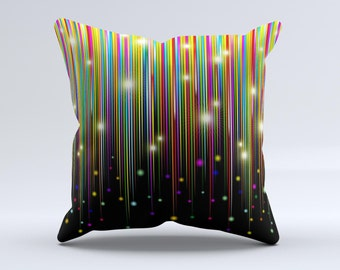 The Falling Neon Color Strips ink-Fuzed Decorative Throw Pillow