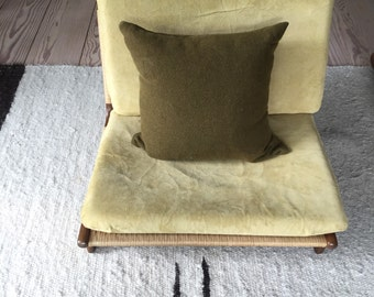 Vintage Military Blanket Pillow, Down Insert, 17 x 17 Army Pillow