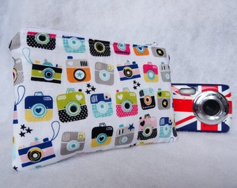 retro padded compact camera pouch, zippered compact camera pouch, adult compact camera pouch, kids compact camera pouch, camera pouch