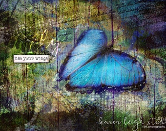 Use Your Wings Butterfly Mixed Media Print