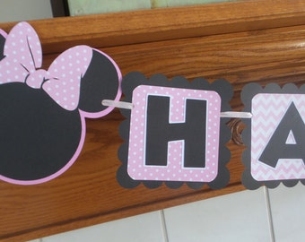 Minnie Mouse Pink Birthday Banner, Minnie Mouse pink polka dot banner, Minnie Mouse birthday banner, pink black Minnie banner, girl Minnie
