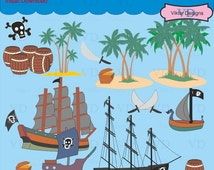 Pirate Caribbean, Pirate Ship,Pirate Theme, Birthday Party, Sailing Ships, Islands, Pirate Skull, Treasure Chest, Dead Man's Chest -Clip Art