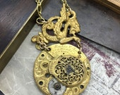 Fusee Steampunk necklace Handcrafted artistic jewelry -#4 The watchmaker series - Victorian Magpie