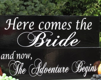 """Double Sided Flower Girl Ring Bearer Painted Soild Wood Wedding Signs """"and now, The Adventure Begins"""" """"Once upon a time """" + More"""