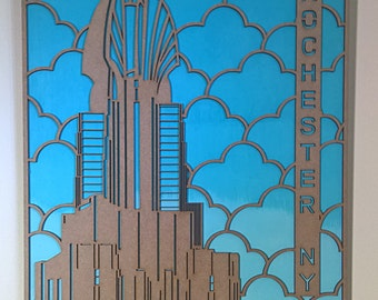 Rochester NY Times Square Building Wall Art Handpainted Backdrop and Cut Board Building Detail