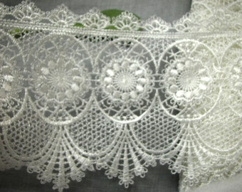 """STUNNING Large 5.5"""" Venise Lace Trim~ wedding Victorian Curtain Lampshade by yard"""