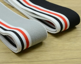 1.5 inch (40mm) Wide Colored  Plush Striped Elastic Band, Waistband Elastic, Elastic Trim, Elastic Ribbon, Sewing Elastic by the Yard