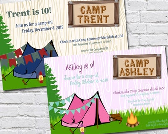 Custom Camping Themed Birthday Invitation