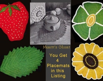 Four Placemats, Strawberry, Leaf, Flower and Black Eyed Susan Hot Plate Mat, Deal of the Day, Vintage Crochet Pattern, INSTANT DOWNLOAD PDF