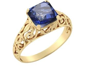 14K Yellow Gold 2.00 ctw Blue Sapphire Engagement Ring Vintage Art Deco Filigree
