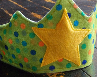 Children's Felt Crown, Green with polka dots and a star