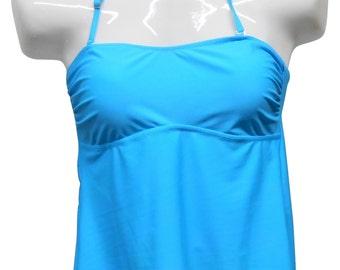 Personalized Aqua Blue Monogrammed Tankini Swimsuit Top