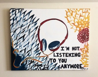 listening (headphones) art piece.