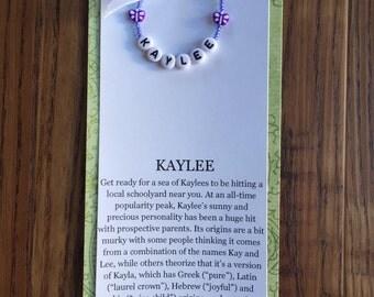 Name meaning-name bracelet-stocking stuffer-baby gift-new baby-girl's bracelet-baby bracelet-children's bracelet
