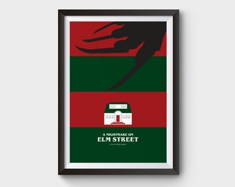 A Nightmare on Elm Street - A3 movie poster, film poster, minimal, minimal print, typography, freddy krueger, horror print