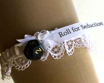 "RPG or Dungeons and Dragons wedding garter. choice of colors, ""Roll for Seduction"""