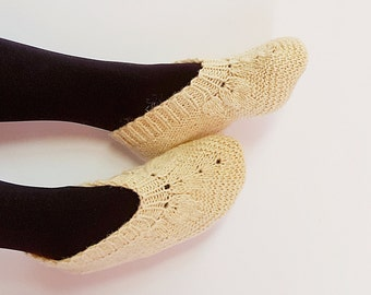 Wool Slippers Women Slippers Hand Knit Natural Wool Slippers For Women Handmade Slippers Ready To Ship 37-38 EU And 38-40 EU