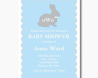 Boy Bunny Baby Shower Invitation