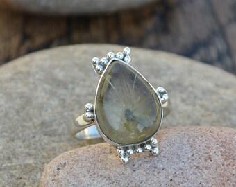Rutilated Quartz Ring -Rutilated 925 Sterling Silver Ring -Rutilated Quartz Ring -Quartz Ring -Rutilated Quartz Gift Jewelry- Designer Ring