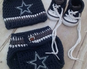 Dallas Cowboys inspired Crochet hat and diaper cover and photography props
