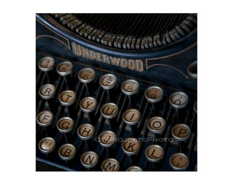 Vintage Typewriter Photography - Square Image - Underwood Typewriter Photo - Old Typewriter Print -  Old Keyboard Image - Printing
