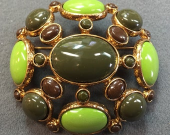 Big Green Brooch.  Free shipping