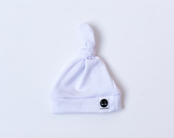 White top knot baby beanie
