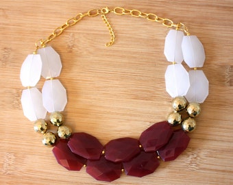 Marsala Statement Necklace- Marsala and Gold Necklace- Maroon Necklace- White gold and Marsala- Holiday Gifts- Holiday Jewelry-Gifts for Her
