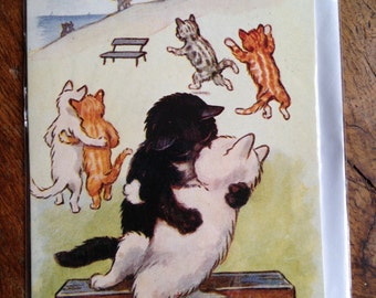 Kissing Cats Vintage Illustration Valentine Card.