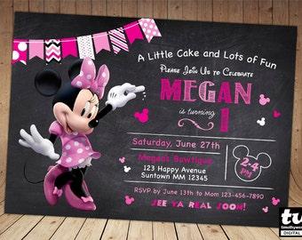 SALE - 60% OFF Minnie Invitation - Minnie Mouse Chalkboard Invitation - Minnie Invite