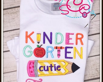 Personalized Kindergarten Cutie Shirt