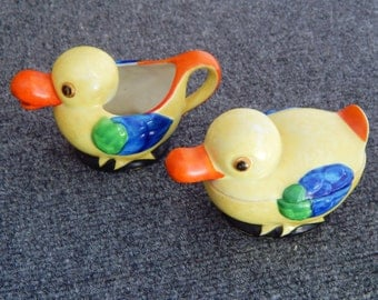 Seiei & Co. Duck Sugar And Creamer Set Made In Japan - Whimsical Spring And Easter Decor
