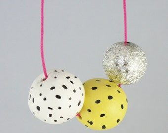 clay bead necklace, handmade jewellery, beads, clay beads, spotty, yellow, silver,pink, jewelry