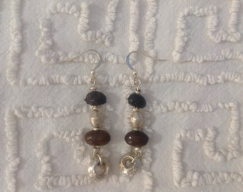 Coffee Beans and Silver Earrings