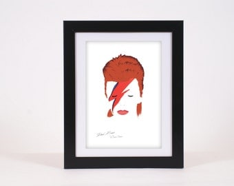 David Bowie Aladdin Sane Lightning Bolt Starman Tribute Poster Print