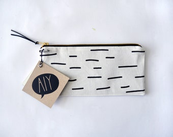 BIRCH Tree/ hand screen printed pencil case with graphic birch tree print, black and white stationary, hipster pencil pouch