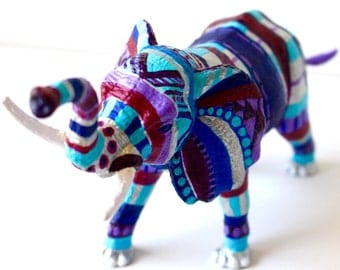 Original Hand-painted Elephant Statuette- Silver, Blue, Purple, And Magenta Upcycled Animal Toy