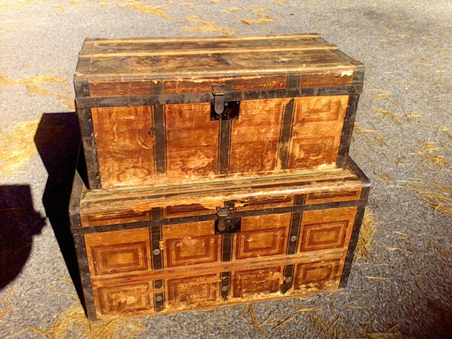 wooden trunk old primitive trunk coffee table antique